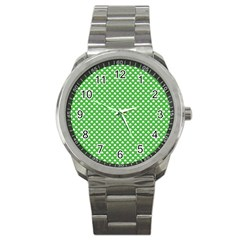 White Heart Shaped Clover On Green St  Patrick s Day Sport Metal Watch by PodArtist
