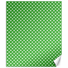 White Heart Shaped Clover On Green St  Patrick s Day Canvas 20  X 24   by PodArtist