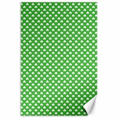 White Heart Shaped Clover On Green St  Patrick s Day Canvas 24  X 36  by PodArtist