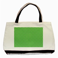 White Heart Shaped Clover On Green St  Patrick s Day Basic Tote Bag (two Sides) by PodArtist