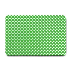 White Heart Shaped Clover On Green St  Patrick s Day Small Doormat  by PodArtist