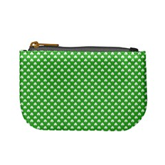 White Heart Shaped Clover On Green St  Patrick s Day Mini Coin Purses by PodArtist