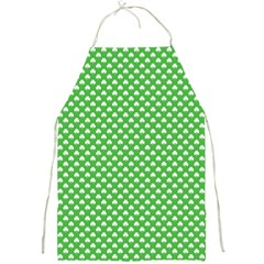 White Heart Shaped Clover On Green St  Patrick s Day Full Print Aprons by PodArtist