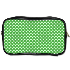 White Heart Shaped Clover On Green St  Patrick s Day Toiletries Bags by PodArtist