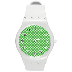 White Heart Shaped Clover On Green St  Patrick s Day Round Plastic Sport Watch (m) by PodArtist