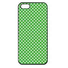 White Heart Shaped Clover On Green St  Patrick s Day Apple Iphone 5 Seamless Case (black) by PodArtist