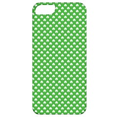 White Heart Shaped Clover On Green St  Patrick s Day Apple Iphone 5 Classic Hardshell Case by PodArtist