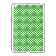 White Heart Shaped Clover On Green St  Patrick s Day Apple Ipad Mini Case (white) by PodArtist