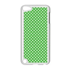 White Heart Shaped Clover On Green St  Patrick s Day Apple Ipod Touch 5 Case (white) by PodArtist