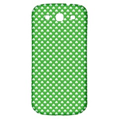 White Heart Shaped Clover On Green St  Patrick s Day Samsung Galaxy S3 S Iii Classic Hardshell Back Case by PodArtist