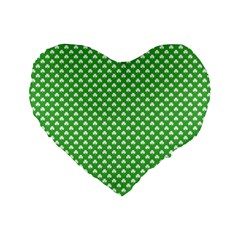 White Heart Shaped Clover On Green St  Patrick s Day Standard 16  Premium Heart Shape Cushions by PodArtist