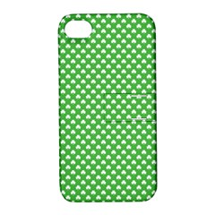 White Heart Shaped Clover On Green St  Patrick s Day Apple Iphone 4/4s Hardshell Case With Stand by PodArtist