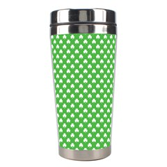 White Heart Shaped Clover On Green St  Patrick s Day Stainless Steel Travel Tumblers by PodArtist