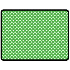 White Heart Shaped Clover On Green St  Patrick s Day Double Sided Fleece Blanket (large)  by PodArtist