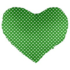 White Heart Shaped Clover On Green St  Patrick s Day Large 19  Premium Flano Heart Shape Cushions by PodArtist