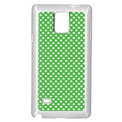 White Heart Shaped Clover On Green St  Patrick s Day Samsung Galaxy Note 4 Case (white) by PodArtist