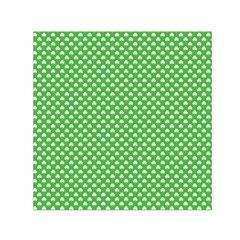 White Heart Shaped Clover On Green St  Patrick s Day Small Satin Scarf (square) by PodArtist
