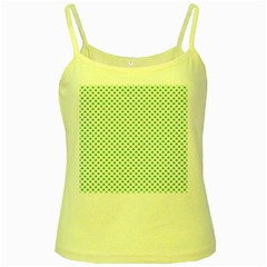 Green Heart Shaped Clover On White St  Patrick s Day Yellow Spaghetti Tank by PodArtist