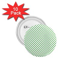 Green Heart Shaped Clover On White St  Patrick s Day 1 75  Buttons (10 Pack) by PodArtist