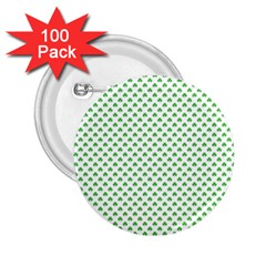 Green Heart Shaped Clover On White St  Patrick s Day 2 25  Buttons (100 Pack)  by PodArtist