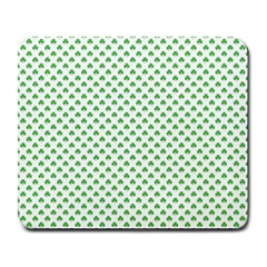 Green Heart Shaped Clover On White St  Patrick s Day Large Mousepads by PodArtist