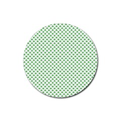 Green Heart Shaped Clover On White St  Patrick s Day Rubber Round Coaster (4 Pack)  by PodArtist