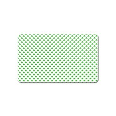 Green Heart Shaped Clover On White St  Patrick s Day Magnet (name Card) by PodArtist
