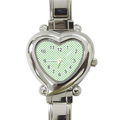 Green Heart Shaped Clover On White St  Patrick s Day Heart Italian Charm Watch by PodArtist