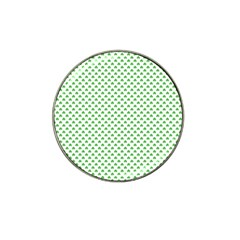 Green Heart Shaped Clover On White St  Patrick s Day Hat Clip Ball Marker (4 Pack) by PodArtist