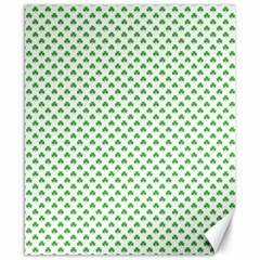 Green Heart Shaped Clover On White St  Patrick s Day Canvas 8  X 10  by PodArtist