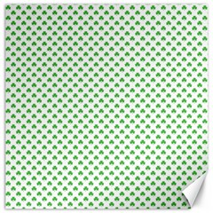 Green Heart Shaped Clover On White St  Patrick s Day Canvas 16  X 16   by PodArtist