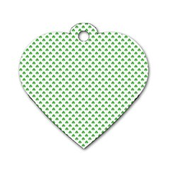 Green Heart Shaped Clover On White St  Patrick s Day Dog Tag Heart (two Sides) by PodArtist