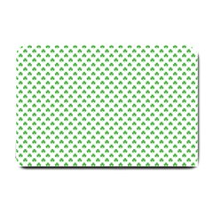 Green Heart Shaped Clover On White St  Patrick s Day Small Doormat  by PodArtist