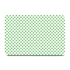 Green Heart Shaped Clover On White St  Patrick s Day Plate Mats by PodArtist