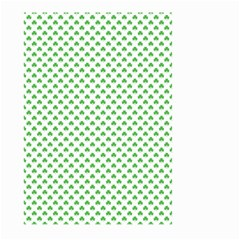 Green Heart Shaped Clover On White St  Patrick s Day Large Garden Flag (two Sides) by PodArtist