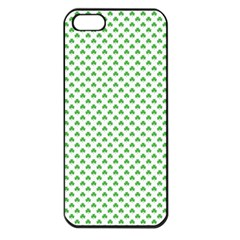 Green Heart Shaped Clover On White St  Patrick s Day Apple Iphone 5 Seamless Case (black) by PodArtist