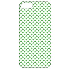 Green Heart Shaped Clover On White St  Patrick s Day Apple Iphone 5 Classic Hardshell Case by PodArtist