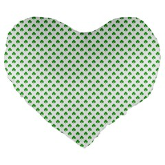 Green Heart Shaped Clover On White St  Patrick s Day Large 19  Premium Heart Shape Cushions by PodArtist