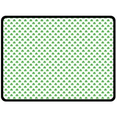 Green Heart Shaped Clover On White St  Patrick s Day Double Sided Fleece Blanket (large)  by PodArtist