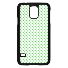 Green Heart Shaped Clover On White St  Patrick s Day Samsung Galaxy S5 Case (black) by PodArtist