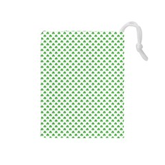 Green Heart Shaped Clover On White St  Patrick s Day Drawstring Pouches (medium)  by PodArtist