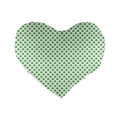 Green Heart Shaped Clover On White St  Patrick s Day Standard 16  Premium Flano Heart Shape Cushions by PodArtist