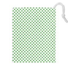 Green Heart Shaped Clover On White St  Patrick s Day Drawstring Pouches (xxl)