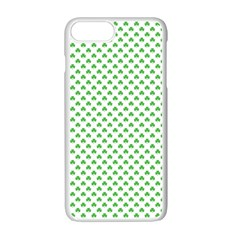 Green Heart Shaped Clover On White St  Patrick s Day Apple Iphone 7 Plus Seamless Case (white) by PodArtist