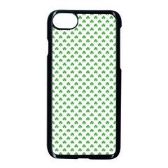 Green Heart Shaped Clover On White St  Patrick s Day Apple Iphone 7 Seamless Case (black) by PodArtist