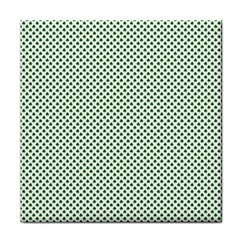 Shamrock 2 Tone Green On White St Patrick's Day Clover Tile Coasters by PodArtist