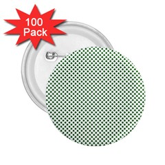 Shamrock 2-tone Green On White St Patrick's Day Clover 2 25  Buttons (100 Pack)  by PodArtist