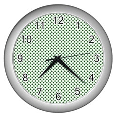 Shamrock 2 Tone Green On White St Patrick's Day Clover Wall Clocks (silver)  by PodArtist