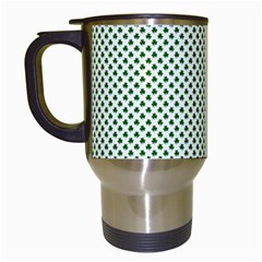 Shamrock 2 Tone Green On White St Patrick's Day Clover Travel Mugs (white) by PodArtist