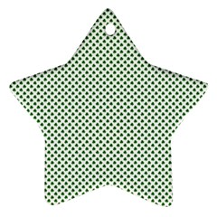 Shamrock 2 Tone Green On White St Patrick's Day Clover Star Ornament (two Sides) by PodArtist